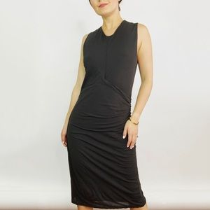NWT James Perse Shirred Midi Dress In Carbon